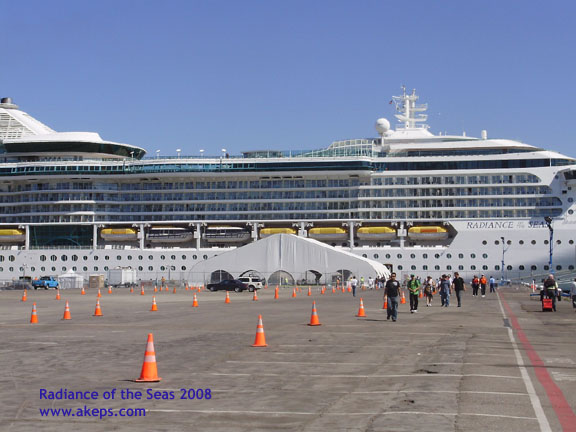 Pier 32 with cones, 100' x 120' canopy and the cruise ship Radiance of the Seas in the background.